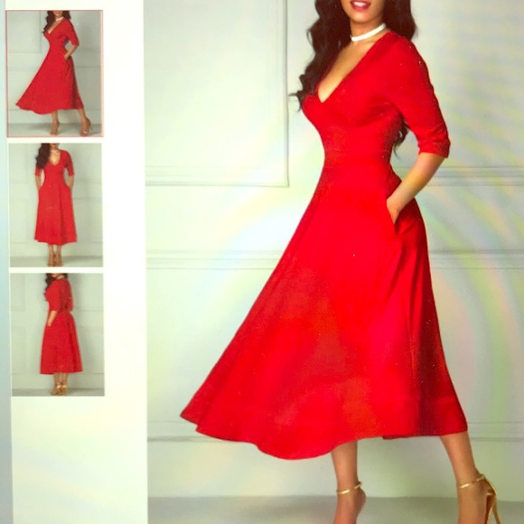 749d3b3cfca Half Sleeve V Neck High Waist Red Dress. NWT. Rosewe